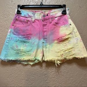Levi's Tye Dye Cut Off Hi Rise Shorts
